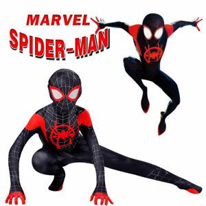 Karneval Spiderman Cosplay Kostüm Miles Morales Kinder Herren Anzug Outifit Kids
