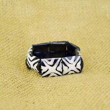 Bovine Cow Bone Bracelet 480-136 Handmade African Mud Cloth Print Cross