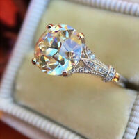 Luxurious Round White Sapphire Wedding Ring Silver Anniversary Promise Gifts New
