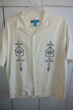 Paradise Blue Mens XL  Embroidered Design on Beige Bamboo-Cotton Blend/Nice