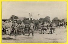 cpa Carte Photo MILITAIRES SOLDATS Souvenir de DUSSELDORF en 1921 Gare Train