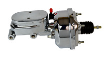 """7"""" STREET ROD SINGLE POWER BRAKE BOOSTER W/ SMOOTH TOP MASTER CYLINDER CHROME"""
