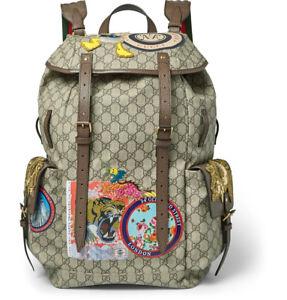 Gucci Beige GG Supreme Disney Donald Duck Backpack 460029-K5I7T-8854 NEO