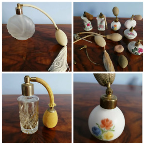 VINTAGE PERFUME CRYSTAL GLASS PORCELAIN OTOMISER BOTTLES DRESSING TABLE VANITY