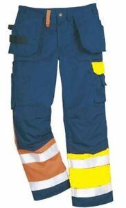 "Fristads 100479 Hi-Vis Trousers Workwear Work Kneepad Pockets W34"" - L32"" Orange"