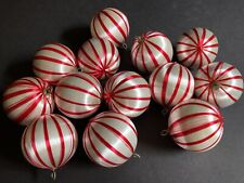 Vintage White and Red Striped Satin Christmas Balls ~ Lot of 13