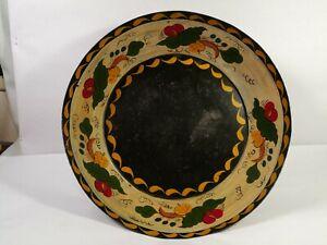 Vtg Metal Toleware Fruit Bowl Gold on Black w Colorful Floral Band