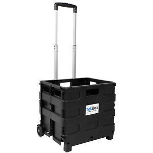 Folding Boot Cart Shopping Trolley Fold Up Storage Box Wheels Crate Foldable
