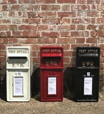 Royal Mail Cast Iron ER Post Box Pillar Red Black White Letterbox Powder Coated
