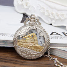 Classic Steam Train Quartz Pocket Watch Gift Necklace Pendant Chain Steampunk