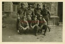 *WWII photo-36th Infantry Division-US GIs posed w/ Helmets & PATCH- GROUP SHOT*