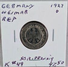1927 D Germany Weimar Republic 50 Reichspfennig