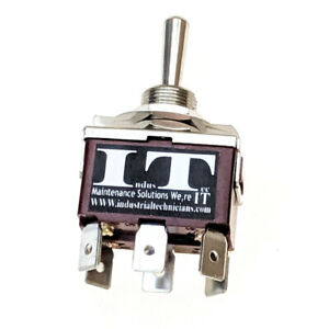 """ON/OFF/ON DPDT 6 - 1/4"""" Pin Toggle Switch 250V 15A KN3C-203 Maintained 12V 24V"""