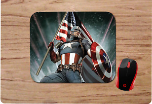 CAPTAIN AMERICA  PATRIOTIC FLAG MOUSEPAD MOUSE PAD HOME OFFICE GIFT DESIGN
