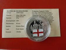 *Cook Island 1 Dollar 2001 Silber PP(500 -ca20g)*Fußball WM/England(Schub69)