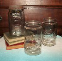 Vintage Lot of 3 Mason Quart Jars Kerr Economy Reliance Wide Mouth Jars Perfect!