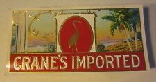 Lot of 100 Original Old Antique CRANE'S IMPORTED - CIGAR End LABELS Crane / Bird