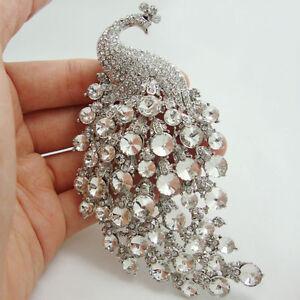 Bride Elegant Peacock Bird Clear Rhinestone Crystal Bride Brooch Pin Pendant