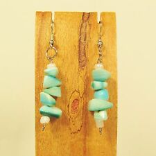 "1 1/2"" Aqua Turquoise Color Stacked Shell Chips Handmade Drop Dangle Earring"