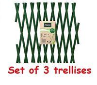 Set of 3 Green Expanding Plastic Trellises Garden Fence 180 x 40cm PVC 6FT