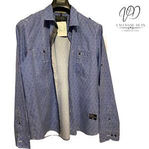 Urban District By C&A Men's Blue Cotton Shirt Size XL 43/44 Long Sleeve