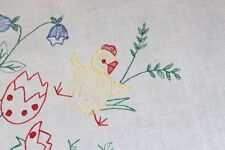EASTER BABY ROOSTER HATCHES & FROHE OSTERN! VTG GERMAN TABLECLOTH