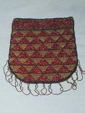 Antique Victorian Bead Beaded Purse Bag Geometric Design Cut Steel Beads