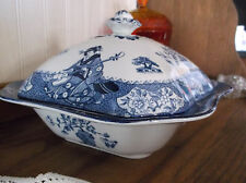 Antique Woods Ware Wood & Sons Tsing Geisha Blue & White Square Cov Vegetable