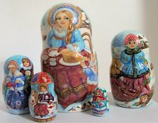 "5pcs One of a Kind Russian Nesting Doll ""Russian Maslenitsa"" by Zolotovskaya"
