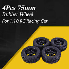 4x 75mm Rubber Climbing Car Off-road Wheel Rim and Tires For 1:10 RC Racing Car