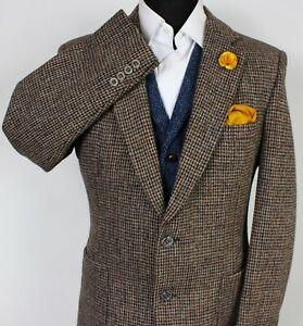 Harris Tweed Blazer Jacket Brown 38R SUPERB WEAVE X373