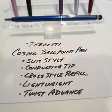 TERZETTI COSMO-BLUE SLIM BALLPOINT PEN-CONDUCTIVE TOP-CROSS STYLE REFILL