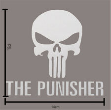 THE PUNISHER Skull Head Car Window Bumper Vinyl Reflective Sticker Decal White