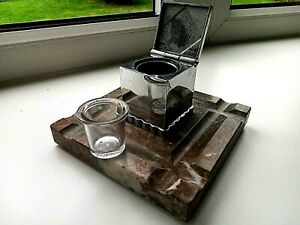 ART DECO FRENCH INKWELL ON A MARBLE BASE