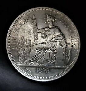 Asia/ French Indochina/ 1 Piastre 1895-A/ KM.5.a1/ SILVER COIN