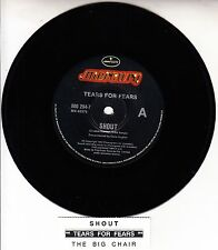 "TEARS FOR FEARS  Shout 7"" 45 rpm vinyl record + juke box title strip"