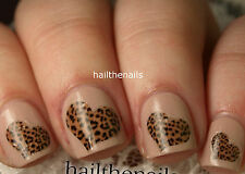 Nails Nail Art Water Transfers Decals Wraps Leopard Heart  Y11 Boho