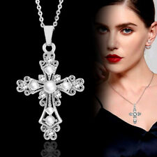 Fashion Hollow Cross Pearl Pendant Necklace Chain Wedding Women Silver Plated