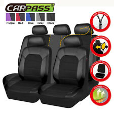 Universal All Black PU Leather&Mesh Breathable Car Auto Seat Covers 11pcs for VW
