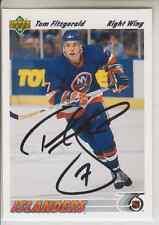 Autographed 91/92 Upper Deck Tom Fitzgerald - Islanders