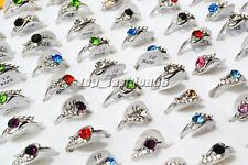 Wholesale 50pcs Dolphin CZ Rhinestone Women's Silver plated Rings HOT FREE