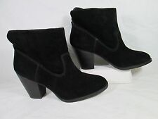 Nine West HAMELIN Suede Leather Chunky Heel Ankle Boots Black Sz 8.5-M