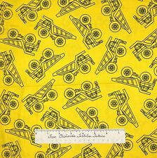 Under Construction Fabric - Black Yellow Dump Truck Benartex Kanvas Studio YARD