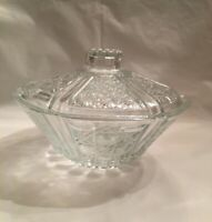 VINTAGE FNG INDONESIA  BOWL PRESSED GLASS CANDY BOWL  Daisy Cane Button Pattern