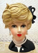 "NAPCOWARE LADY PLANTER HEAD 5 3/4"" VASE #8496 IN BLACK WITH FAUX PEARL NECKLACE"