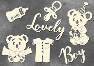 Puffy Fluffy Boy chipboard elements for crafts cardmaking scrapbooking