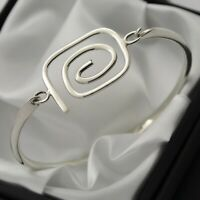 Swirl Design Opening Bangle Bracelet in Plain Solid 925 Sterling Silver