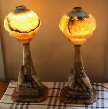 ANTIQUE Table Lamps CARVED ALABASTER! Pair BIRDS! Art Deco