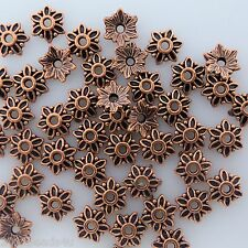 Antique Copper Flower Bead Caps 50 pieces Alloy Metal 7mm  #0003