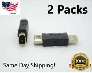 Firewire IEEE 1394 6-Pin Female F to USB M Male Adapter Converter Joiner Plug PC